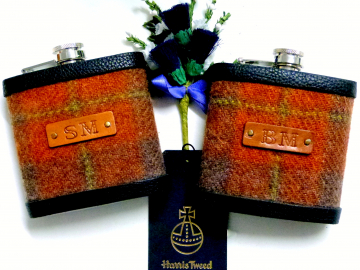 Harris Tweed Russet/ burnt orange flasks with initials