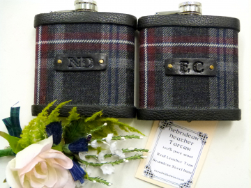 Hebridean Heather tartan flasks with initials