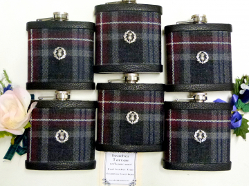 Your Wedding kilt tartan flasks with Scotttish Thistle  for Best Man, Usher, Father of Bride or groomsmen, .Scottish luxury gift in sets of 3 - 8