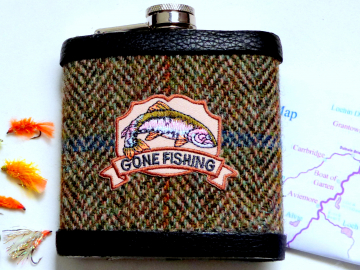 Harris Tweed hip flask embellished Gone Fishing, fisherman's gift, ideal for Dad, Father's Day, birthday, Christmas.