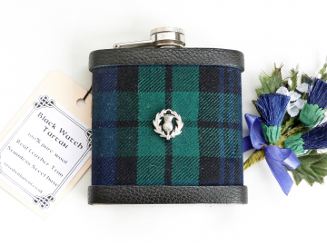 Black Watch tartan flask with Scottish thistle