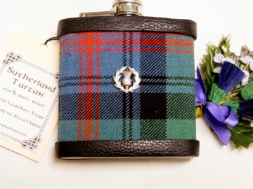 Sutherland Tartan flask with thistle