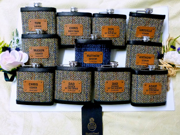 Set of 11 Harris Tweed flasks for the wedding party.