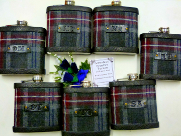 Your Wedding kilt tartan Hip Flasks  with initials embossed on leather labels for Best Man,  Father of Bride or groomsmen, Scottish luxury gift sets of 3-6