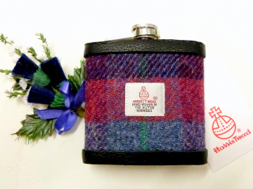 Harris Tweed hip flask in purple blue red grey made in Scotland  UK
