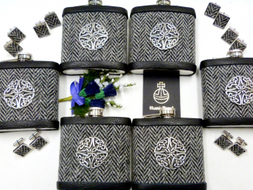 Six Harris Tweed celtic flasks with six pairs of matching cufflinks