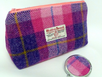 Cosmetic bag pink and purple Harris Tweed with optional matching compact mirror