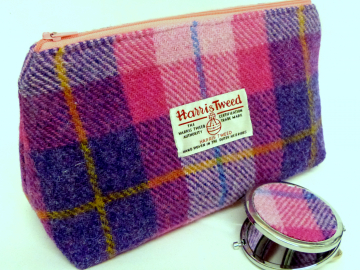 Cosmetic bag pink and purple Harris Tweed with matching compact mirror