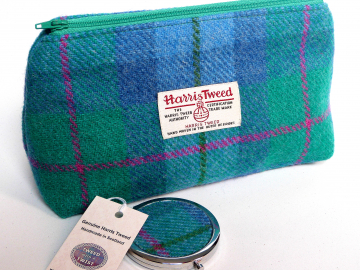 Harris Tweed Jade green, Blue and pink cosmetic bag with  matching compact mirror