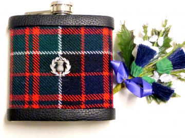 MacDonald Tartan hip flask  with thistle Scottish gift for men ideal Christmas, retirement  best man or usher's wedding gift