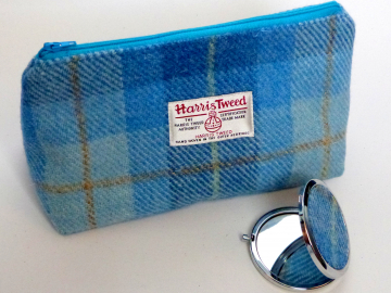 Cosmetic bag Blue shades of checked Harris Tweed with matching compact mirror Make-up bag