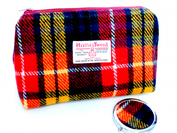 Buchanan Tartan Harris Tweed Cosmetic  make-up bag with matching compact mirror , red yellow blue plaid