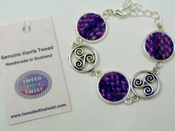 Purple / pink Harris Tweed bracelet with celtic triple spiral feature, triskeles , made in Scotland , Christmas or birthday gift womens or bridesmaid jewellery
