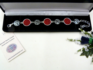 Red Harris Tweed bracelet with celtic spiral filigree features, made in Scotland , Christmas or birthday gift womens or bridesmaid jewellery