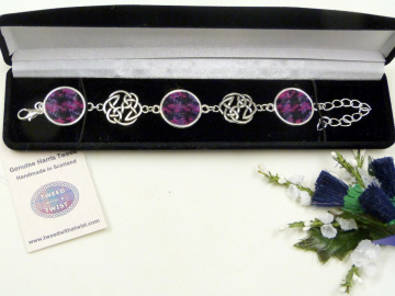 Purple and black Harris Tweed bracelet with celtic infinity knots made in Scotland , Christmas or birthday gift womens or bridesmaid jewellery