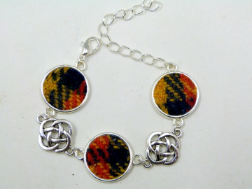 Buchanan Tartan Harris Tweed bracelet with celtic infinity knots made in Scotland , Christmas or birthday gift womens or bridesmaid jewellery