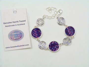 Purple filigree Harris Tweed bracelet with celtic infinity knots made in Scotland , Christmas or birthday gift womens or bridesmaid jewellery