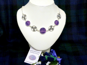 Purple Harris Tweed necklace with celtic tri spiral, triskele infinity knots made in Scotland , Christmas or birthday Scottish gift for women