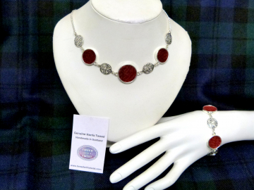 Red necklace Harris Tweed  with celtic infinity knots made in Scotland , Christmas or birthday gift womens or bridesmaid jewellery