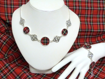 Royal Stewart necklace with celtic infinity knots made in Scotland , Christmas or birthday gift womens or bridesmaid jewellery