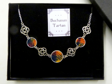 Buchanan Tartan necklace Harris Tweed with celtic infinity knots made in Scotland , Christmas or birthday gift womens or bridesmaid jewellery