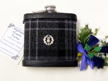 Highland Granite Tartan hip flask  with thistle Scottish gift for men ideal Christmas, retirement  best man or usher's wedding gift