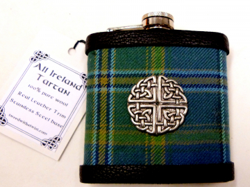 All Ireland  Tartan hip flask with Celtic Knot in gift box