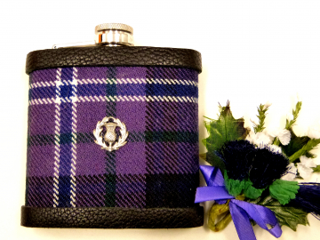 Scotland Forever Tartan hip flask  with thistle Scottish gift for men ideal Christmas, retirement  best man or usher's wedding gift
