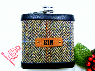 Harris Tweed Gin hip  flask, brown herringbone weave,  Scottish gift for men ideal Christmas, retirement Gin lovers present