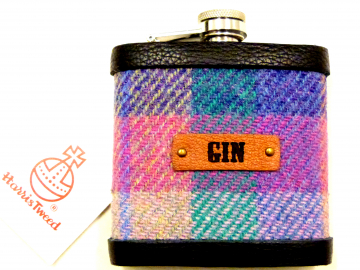 Harris Tweed Gin hip  flask, purple, pink and jade green, Scottish gift for her or him ideal Christmas, retirement Gin lovers present