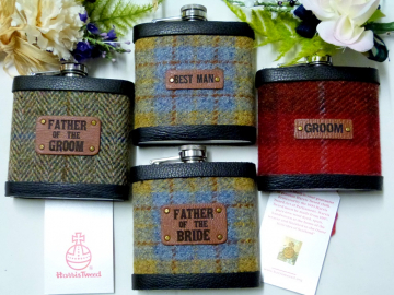 Harris Tweed Flasks, Father of the Bride and Groom