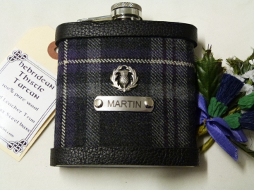 Hebridean Thistle tartan hip flask with thistle and stainless steel tag engraved with personalisation initials, name, date, motto etc. of your choice