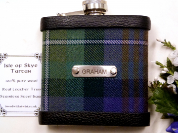 Isle of Skye tartan hip flask with stainless steel engraved tag with name, initials,  date, motto etc. of your choice personalised gift