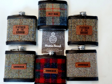 Groomsmens gifts, set of six Harris Tweed flasks with leather role labels