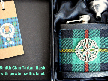 Smith Clan Tartan flask with celtic knot